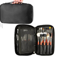 Professional Cosmetic Makeup Brush organizer Makeup Artist case with Belt Strap Holder Multifunctional Cosmetic Makeup Bag Handbag for Travel & Home