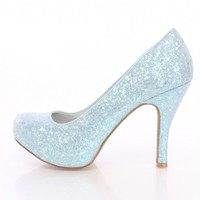 Light Blue Closed Toe Pump Heels Glitter