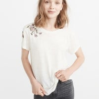 Womens Embroidered Boyfriend Tee | Womens Tops | Abercrombie.com