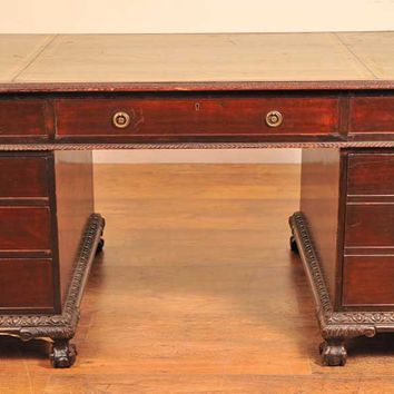 Canonbury - English Antique Victorian Pedestal Desk Desks Writing Table