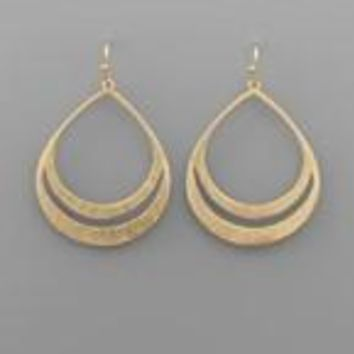 Textured Two Row T-Drop Earrings