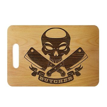 Skull with Crossed Meat Cleavers Engraved Cutting Board
