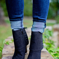 Whole Lot Of Moonlight Left Booties: Black