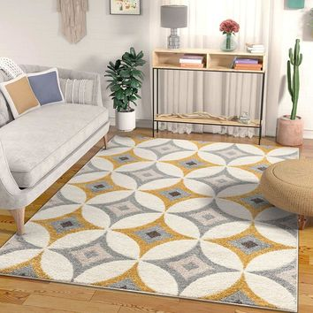 7041 Gold Diamond Design Contemporary Area Rugs