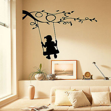 Wall Decal Girl on Swing Vinyl Stickers Kids Bedroom Nursery Room Decor OS283
