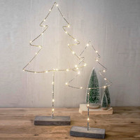 (Set of 2) Metal Trees with LED Light and Cement Base