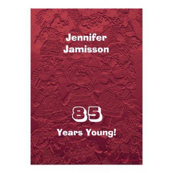 85 Years Young Birthday Red Dolls Invitations
