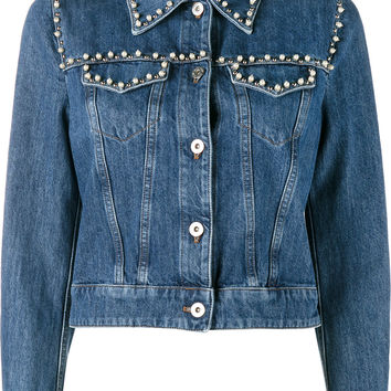 Miu Miu Pearl Embellished Denim Jacket - Farfetch