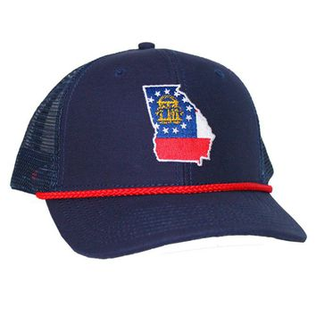 Georgia Flag Mesh Back Rope Hat in Navy by Peach State Pride