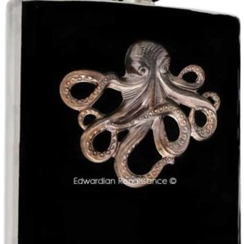 Steampunk Flask Oxidized Octopus Embellished on Hand