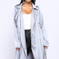 Leave A Message Satin Jacket - Grey