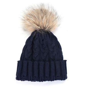 ESBU3C Women Fur Winter Wool Knit Beanie Raccoon Fur Pom Bobble Hat Crochet Ski Cap in women's accessories