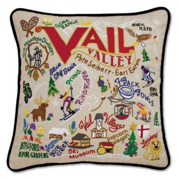 Ski Vail Hand Embroidered Pillow