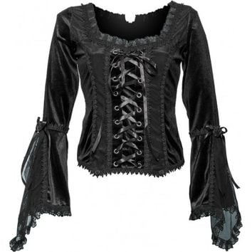 Gothic shop: Sinister women's top flowing sleeves