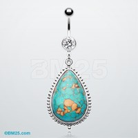 Turquoise Stone Teardrop Belly Button Ring