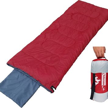 OutdoorsmanLab Lightweight Sleeping Bag (32F) For Camping, Backpacking, Travel- Cold Weather 3-4 Season Ultralight Compact Packable bag with Compression Sack For Kids Men Women