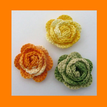 3 small crochet roses, appliques and embellishments