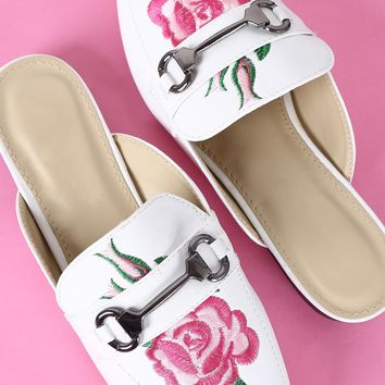 Embroidered Floral Horsebit Mule Flat