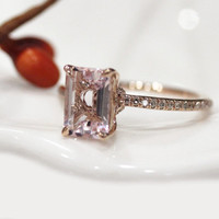 Christmas Gift !14k Rose Gold 5*7mm VS Emerald Cut Morganite Ring Diamond Pave Setting Claw Prong Engagement Ring Wedding Ring Gemstone Ring