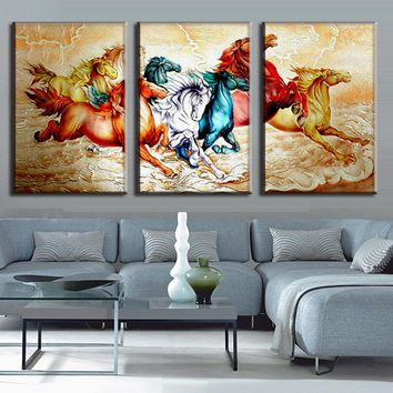 3 Pcs/Set Running Horses Posters Modern Animal Canvas Art Prints Paintings Framed Canvas Wall Art Pictures for Living Room Decor