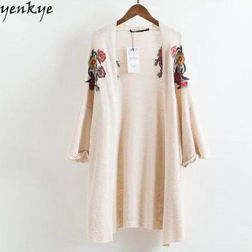 PEAP78W 2018  European Style Autumn  Women Floral Embroidery Knitted Kimono Cardigan Long Casual Loose Plus Size Clothing  Brand NRY9119
