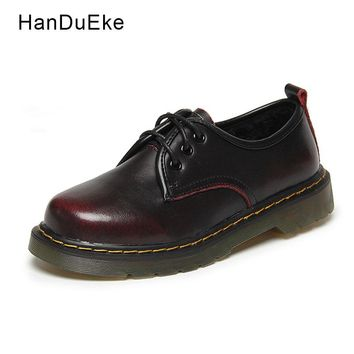 Women Casual Shoes Oxford Female Ankle Shoes Flats Cow Suede Red Leather 2018 Spring Round Toe Lace-Up Shallow Mujer