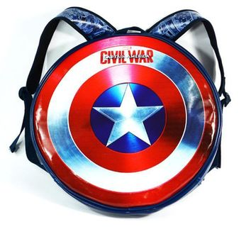 Marvel superhero Captain America Hard Backpack Plastic Shield Travel Backpack big and Small School Bag Rucksack Mochila
