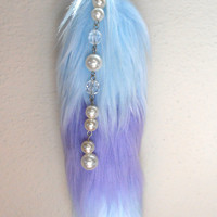 Candy-coon racccon fox tail plush keychain Kawaii lavender baby blue faux fur lolita fairy-kei accessory