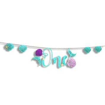 Party Banner Decorative Mermaid One Letter Banners Hanging Banners for Baby Birthday Party 6'' x 5''