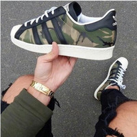 ADIDAS CAMOUFLAGE GREEN SHELL sneakers Sport Shoes H-CSXY