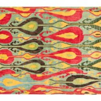 Nick Ikat Rug, Blue/Red/Green, Area Rugs