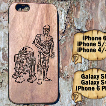 R2D2 and C3PO, iPhone 6/6+ 5/5s 4/4s, Samsung S4 S5, Laser Engraved Genuine Wood Case, Star Wars