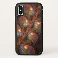 Colorful Fluorescent Abstract Modern Brown Fractal iPhone X Case
