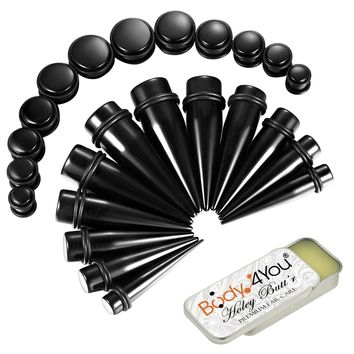 BodyJ4You 25PC Big Gauges Kit Ear Stretching Aftercare Balm 00G-20mm Multicolor Acrylic Tapers Plugs