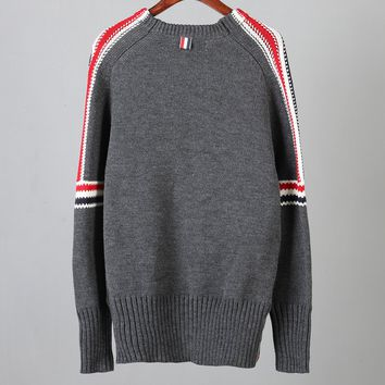 THOM BROWNE 2018 winter new men's casual contrast color striped round neck sweater Grey