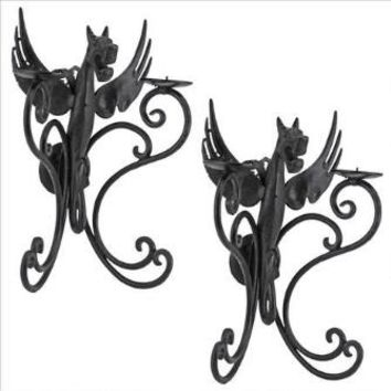 Castle Dragon Wall Sconces: Set Of 2 - Design Toscano