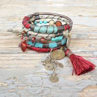 Silk Road Gypsy Bangle Stack - Konya - 5 Bohemian Tribal Bracelets, Silk Wrapped and Beaded with Tassel, Rust, Turquoise, Sage