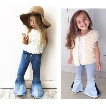 2018 New Girls Bell-bottomed Pants  Elastic Waist Spring Children Trousers Outfits Baby Flare Costume Fashion Kids Vintage Jeans
