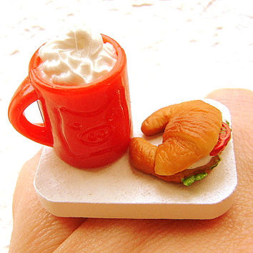 Food  Ring Hot Chocolate Sandwich Miniature Food Jewelry