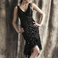 Theia 881259 Flapper Style Cocktail Dress - Black
