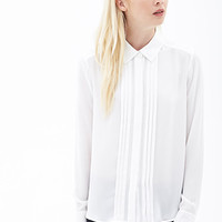 FOREVER 21 Pleated Crepe Shirt