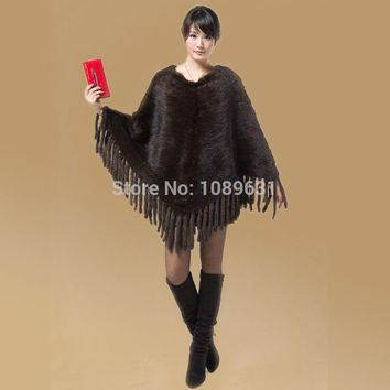 Fashion fur coat Mink knit shawl Women genuine knitting mink coat