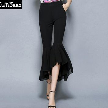 Elegant OL Bell Bottom Slim Pants Newest Women Retro Chiffon Stitching Elastic Wasit Flare Pants Slim Calf Length Trousers Pants