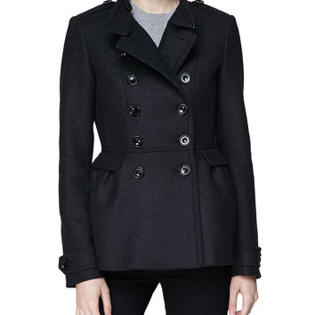 Women's Gathered Waist Double-Breasted Coat - Burberry Brit - Grey melange (4)