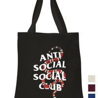 Anti Social Social Club Cotton Tote hand bag Coral Snake ECO canvas shoulder bag | eBay