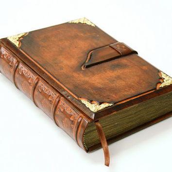 Brown leather  journal antique style 8.1''x5.7'' (20,5x14,5 cm)