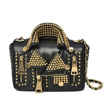 Cool Punk Rock Womens Shoulder Bag Crossbody Bags for Women Fashion Rivet Leather Chain Motorcycle Jacket  Messenger Bags 2017