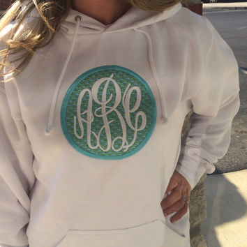 Monogrammed Whale Appliqué White Hoodie Sweatshirt  Font shown MASTER CIRCLE in white