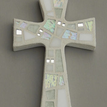 "Mosaic Wall Cross, Small, Shades of White + Iridescent Glass + Silver Mirror, Handmade Stained Glass Mosaic Cross Wall Decor, 6"" x 4"""