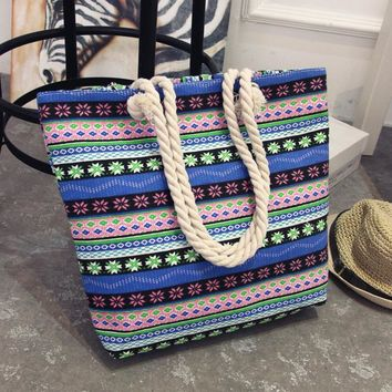 Women Floral Large Capacity Tote Canvas Shoulder Bag Shopping Bag Beach Bags Casual Tote